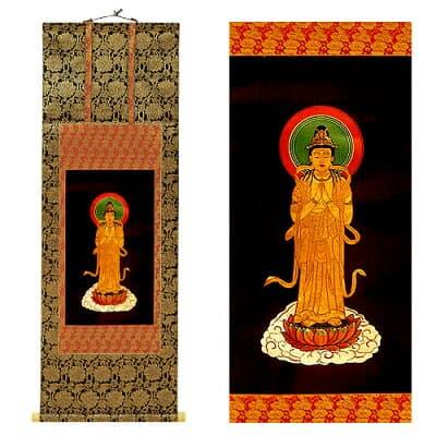 聖観世音菩薩掛軸 上等金襴表装本仕立 3尺 長さ90cm