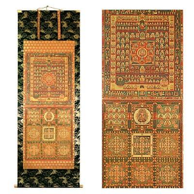 両界曼荼羅掛軸 上等金襴表装本仕立