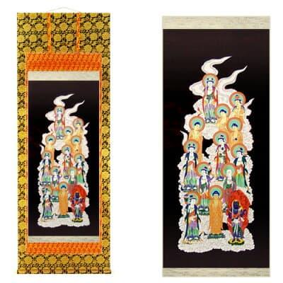十三仏掛軸 肉筆画 上等金襴表装本仕立 3.3尺 長さ100cm