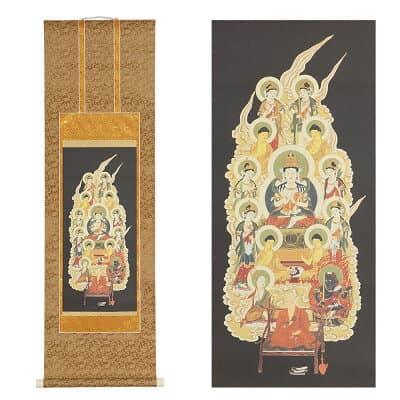 真言十三仏掛軸 大師入り 緞子(どんす)茶表装 3尺 長さ93cm