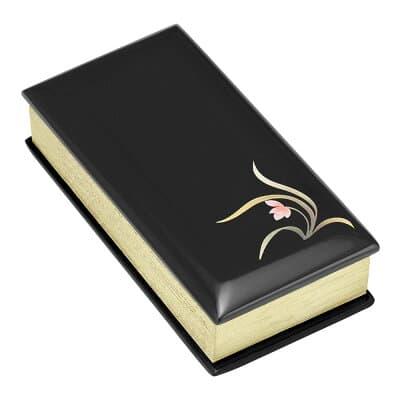 過去帳 黒塗り蒔絵入り(蘭) 3寸 縦9cm