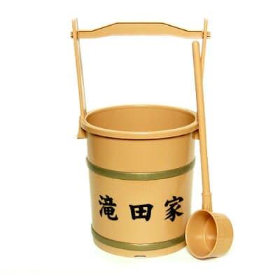 上等手桶(柄杓付)家名入り 高さ40cm×口径21cm