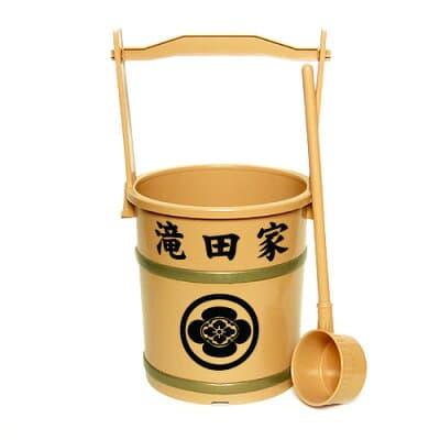 上等手桶(柄杓付)家名・家紋入り 高さ40cm×口径21cm