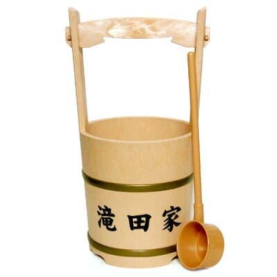 特上手桶(柄杓付)家名入り 高さ44cm×口径21cm