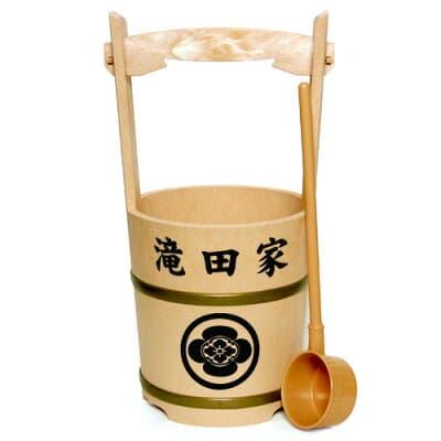 特上手桶(柄杓付)家名・家紋入り 高さ44cm×口径21cm
