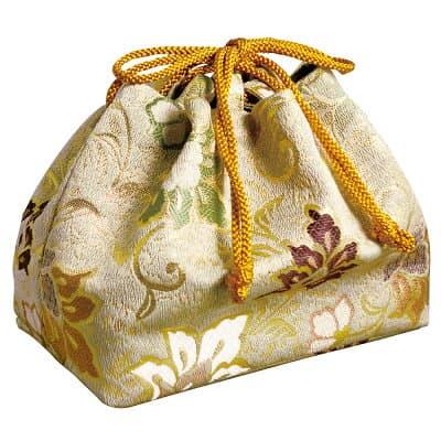 携帯用箱型香炉用金襴袋 白茶