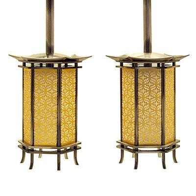 吊り灯篭 六角型 イブシ(一対) 豆 本体高さ10cm