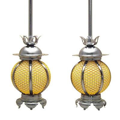吊り灯篭 新丸型 イブシ(一対) 小 本体高さ13cm