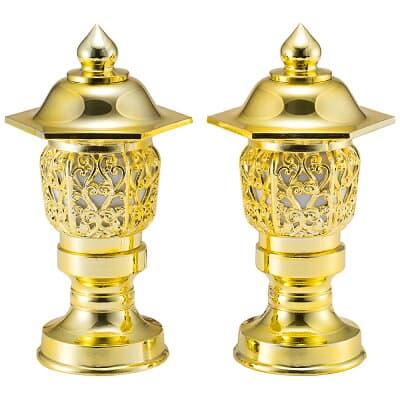置き灯篭 唐草六角型 金(一対) 6寸 高さ18cm