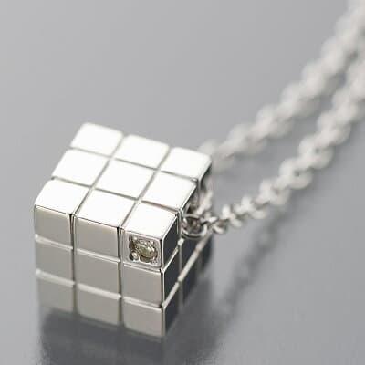 遺骨ペンダント【キューブ】シルバー925・ダイヤモンド
