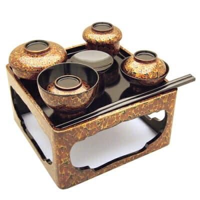 仏膳(霊供膳) 木製金虫塗り 5寸