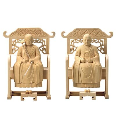 承陽大師・常済大師(道元・瑩山) (一対)(曹洞宗の脇侍) 2寸 高さ14.2cm