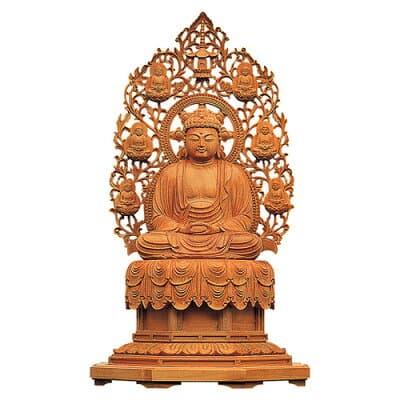 釈迦如来像 裳懸台座化仏光背(インド白檀) 2寸 高さ18.4cm