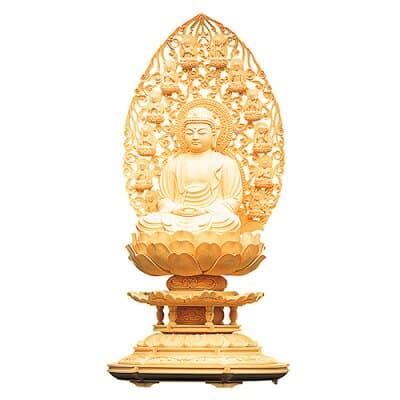 釈迦如来像 丸台座十三仏光背(柘植) 1.5寸 高さ15.3cm