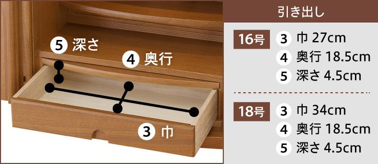 引き出し【16号】(3)巾 27cm(4)奥行 18.5cm(5)深さ 4.5cm【18号】(3)巾 34cm(4)奥行 18.5cm(5)深さ 4.5cm