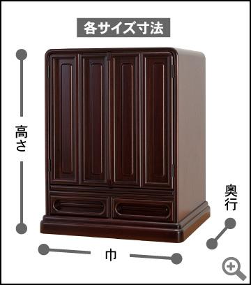各サイズ寸法/高さ×巾× 奥行