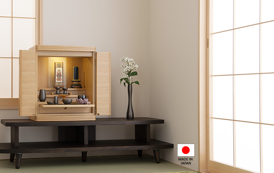 モダンミニ仏壇 クラリス 上置き型 ナラ 18号
