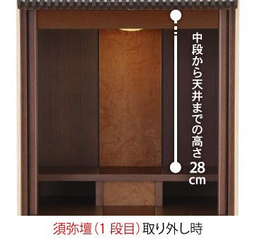 【須弥壇(1段目)取り外し時】中段から天井までの高さ28㎝