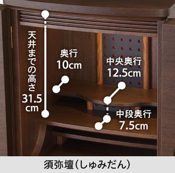 【須弥壇】上段中央奥行12.5cm/上段端奥行10cm/中段中央奥行7.5cm/中段から天井までの高さ31.5cm