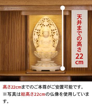 天井までの高さ22cm、高さ22cmまでのご本尊がご安置可能です。※写真は総高さ22cmの仏像を使用しています。