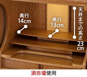 【須弥壇使用】天井までの高さ:23cm、須弥壇奥行:13cm、端奥行:14cm