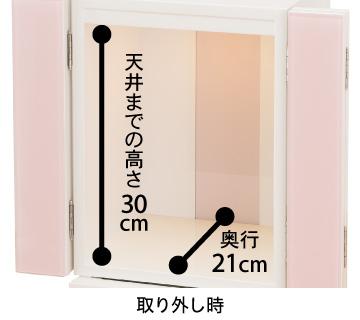 【取り外し時】天井までの高さ30cm、奥行21cm