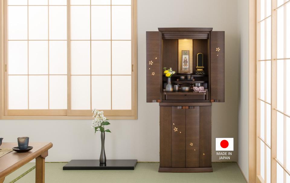 モダン仏壇 染井吉野 ウォールナット 40×15号