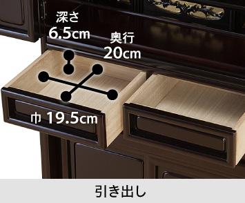 【引き出し】巾19.5cm/奥行20cm/深さ6.5cm