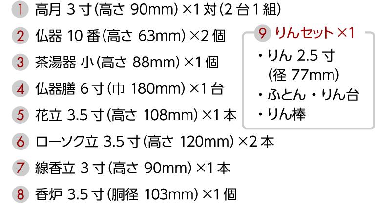 1.高月 3寸(高さ 90mm)×1対(2台1組)、2.仏器 10番(高さ 63mm)×2個、3.茶湯器 小(高さ 88mm)×1個、4.仏器膳 6寸(巾 180mm)×1台、5.花立 3.5寸(高さ 108mm)×1本、6.ローソク立 3.5寸(高さ 120mm)×2本、7.線香立 3寸(高さ 87mm)×1本、8.香炉 3.5寸(胴径 105mm)×1個、9. 【りんセット×1】・りん 2.5寸(径 77mm)・ふとん ・りん台・りん棒