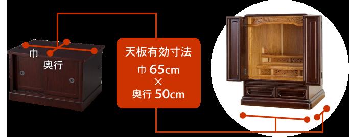 天板有効寸法:巾65cm × 奥行50cm