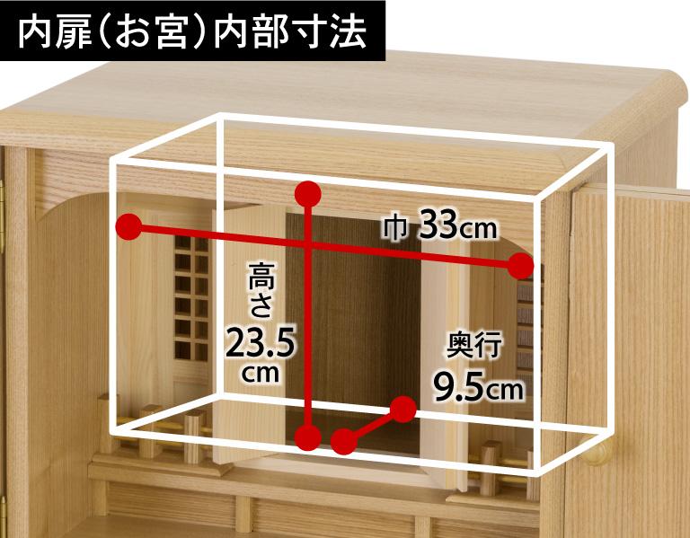 【内扉(お宮)内部寸法】高さ23.5cm、巾33cm、奥行9.5cm