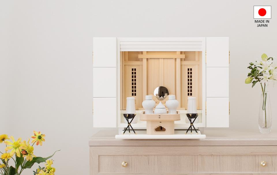 モダンミニ祖霊舎(神徒壇)キュービック ホワイト 12号