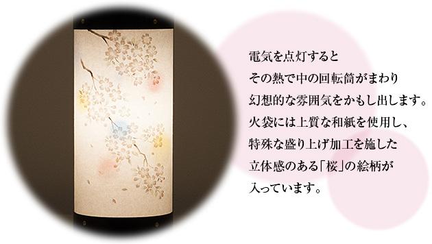 ミニお盆提灯 回転行灯 長良の小路 桜(一個)