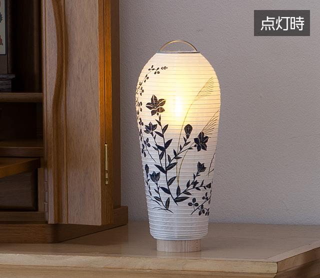 ミニお盆提灯 小珠(こだま)萩に桔梗 3903-A