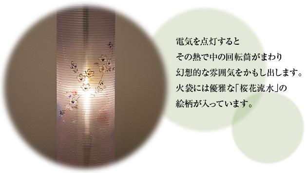 特選盆提灯 回転行灯 立花桜調6号 3967