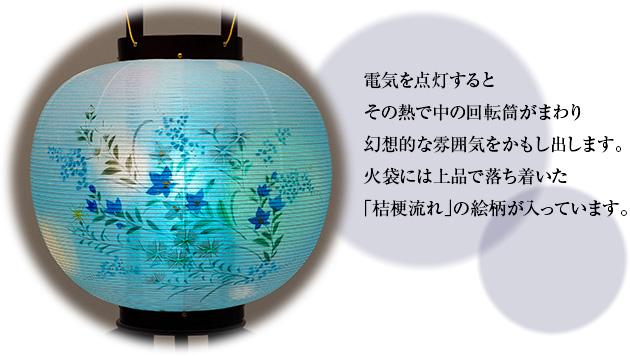 対柄盆提灯 回転行灯 11号 1484-M(一対)