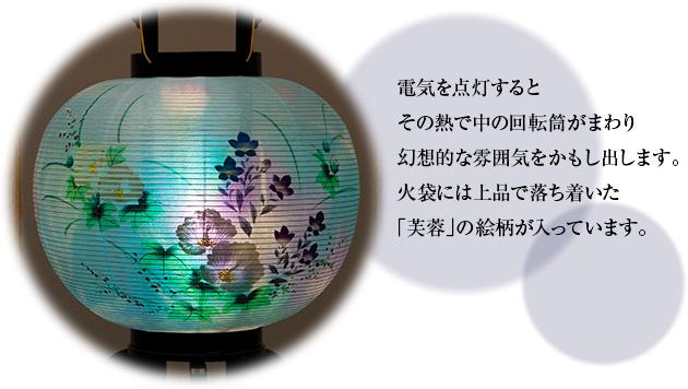 対柄 盆提灯 小型 回転行灯 9号 2510-W(一対)