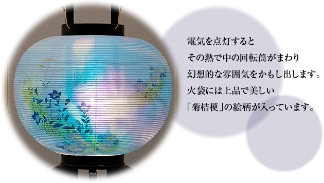 対柄盆提灯 小型回転行灯 9号 2518-W(一対)