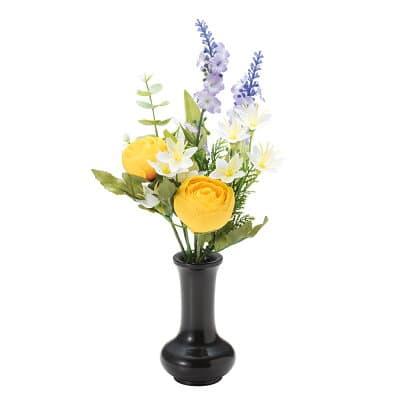 【仏壇用の仏花・造花】千の花(イエロー) S-15 花立3寸付