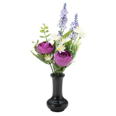【仏壇用の仏花・造花】千の花(パープル) S-16 花立3寸付