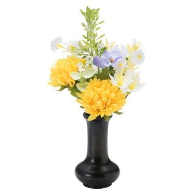 【仏壇用のミニ仏花・造花】千の花 小 (イエロー) S-12 花立2.5寸付