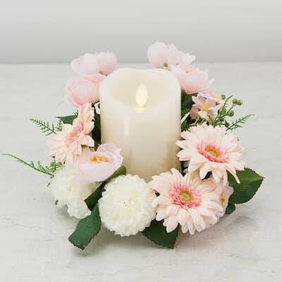 【仏壇用のミニ仏花・造花】モダン仏花 LEDキャンドルアレンジ(コードレス) ピンク