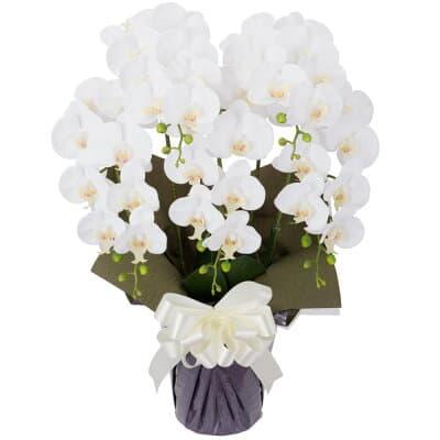 胡蝶蘭 5本立ち お供え花 アートフラワー(造花) ホワイト