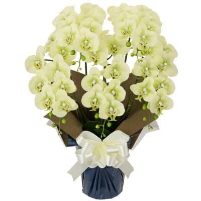 胡蝶蘭 5本立ち お供え花 アートフラワー(造花) グリーン