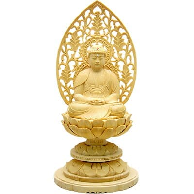 座阿弥陀如来(天台宗)白木製 2寸 高さ19.5cm