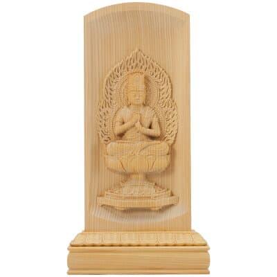 レリーフ仏像 大日如来(真言宗) 榧製 高さ20cm