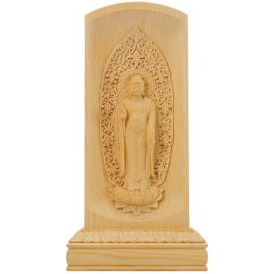 レリーフ仏像 舟阿弥陀如来(浄土宗) 榧製 高さ20cm