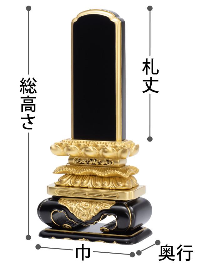 お位牌のサイズ(札丈、総高さ、巾、奥行)