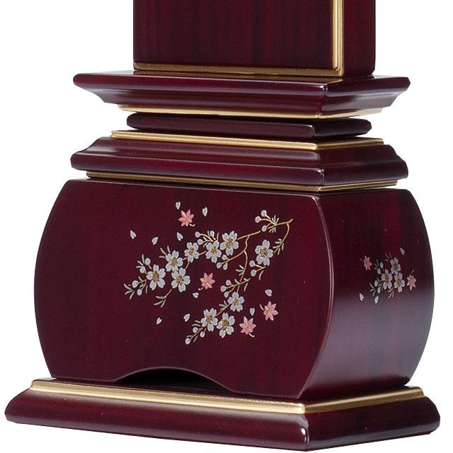 唐木蒔絵位牌「優雅 風桜 紫檀」