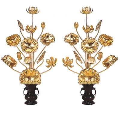 【寺院用】常花 木製 本金箔(一対) 1.5尺(9本立)